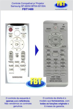 Controle Compatível p/ Projetor Samsung SP-M250 BP59-00135A FBT1486