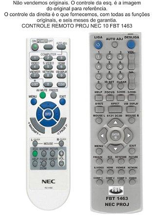 Controle Compatível projetor NEC  215 216 210 110 115 RD448E 443E VE280 281 280X 281X 282 282B V300X V300XG V260X FBT1463