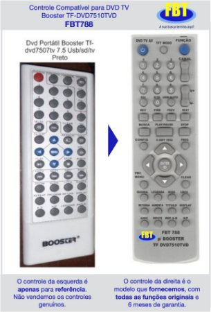 Controle Compatível para DVD TV Booster TF-DVD7510TVD FBT788