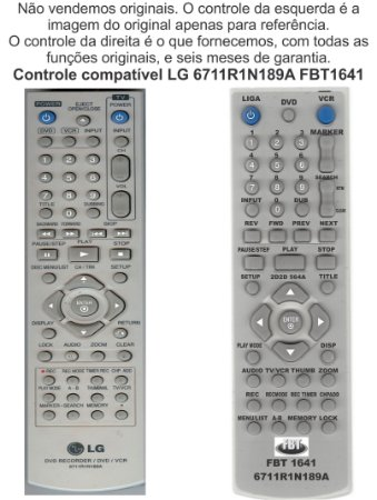 Controle Compatível Com LG DVD + VCR 6711r1n189a 168b Fbt1641