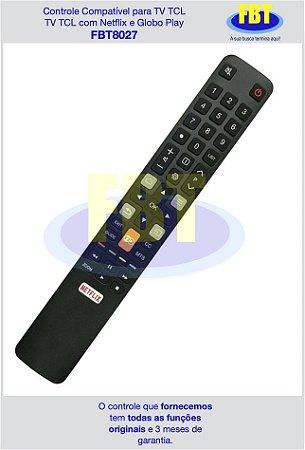 Controle Compatível para TV TCL com Netflix e Globo Play FBT8027