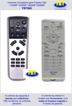 Controle Compatível para Projetor Dell 1100MP 1200MP 1800MP 2400MP FBT860