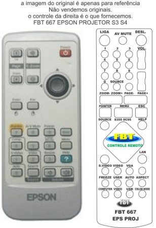 Controle Remoto Compatível - Projetor EPSON VIDE TABELA