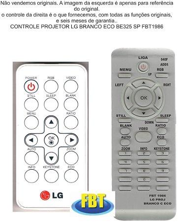 CONTROLE PROJETOR LG BRANCO C/ ECO BE325 SP