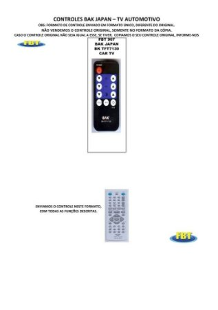 Controle Remoto Tv Automotivo Booster Dsw Midi Japan Nell Trc Lcd Monitor Tft Video Monitor