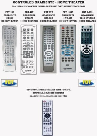 Controle Remoto Home Theater GoldenField Goldship Gotec Gpx Gradiente
