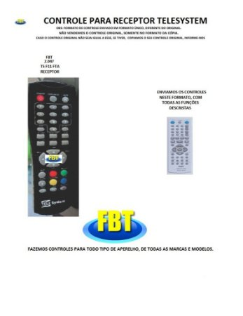 Controle Remoto Compatível - para CONVERSOR DE TV Digital TELESYSTEM TS F11 FTA
