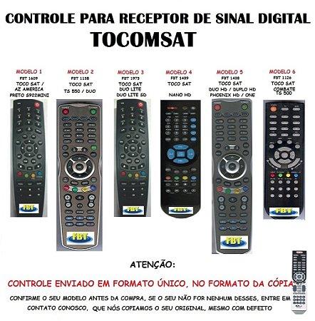 CONTROLE PARA RECEPTOR DE SINAL TOCOMSAT - AZAMERICA S922 MINI / TS 550 / DUO / DUO LITE / DUO LITE SD / NANO HD / DUO HD / DUPLO HD / ONE / PHOENIX HD / COMBATE / TS 500