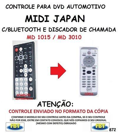 Controle Remoto Compatível - para DVD Digital Automotivo C/BLUETOOTH E DISCADOR DE CHAMADA MIDI JAPAN MD 1015 / MD 3010