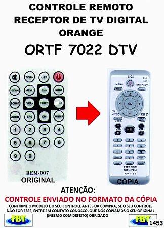 Controle Remoto Compatível para RECEPTOR DE TV Digital ORANGE ORTF 7022 DTV