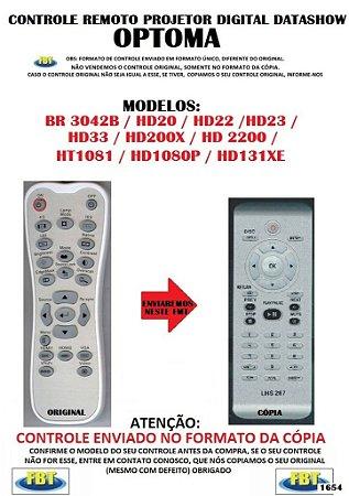 Controle Remoto Compatível - para Projetor Digital DATASHOW Optoma BR3042B / HD20 / HD22 / HD23 / HD33 / HD200X / HD2200 / HT1081 / HD1080P / HD131XE