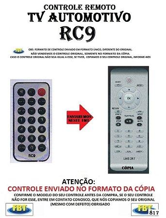Controle Remoto Compatível - para TV AUTOMOTIVA RC9
