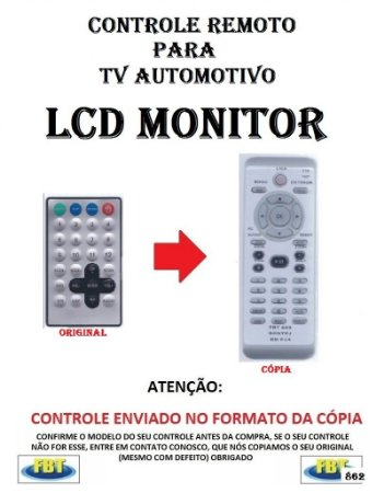 Controle Remoto Compatível - para TV AUTOMOTIVA LCD MONITOR