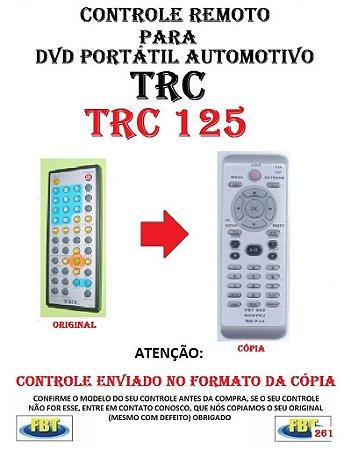 Controle Remoto Compatível - para DVD PORTATIL Automotivo TRC - TRC 125
