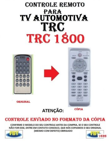 Controle Remoto Compatível - para TV AUTOMOTIVA TRC - TRC 1800