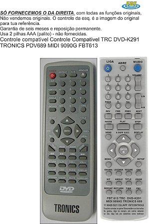 Controle Compatível TRC DVD-K291 TRONICS PDV689 MIDI 9090G FBT613