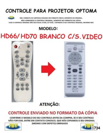 Controle Remoto Compatível - para Projetor Digital DATASHOW Optoma HD66 HD70 C/S VIDEO