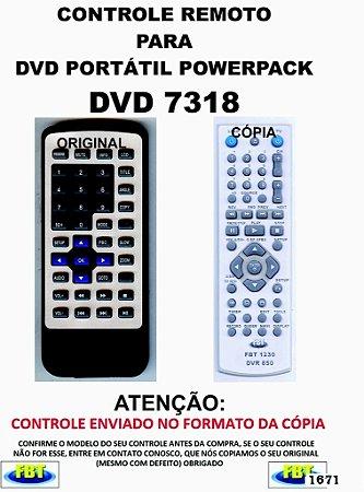 Controle Remoto Compatível - para DVD PORTATIL POWERPACK 7318