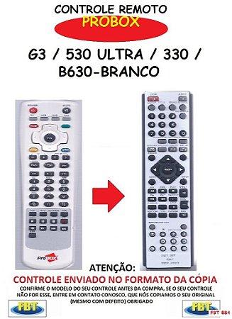Controle Remoto Compatível para RECEPTOR DE TV Digital PROBOX G3 / 530 ULTRA / 330 / B630-BRANCO