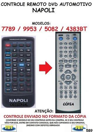 Controle Remoto Compatível - para DVD Automotivo NAPOLI 7789 / 9953 / 5082 / 4383 BT - FBT589
