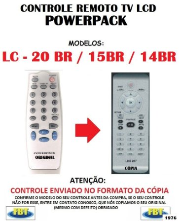 Controle Remoto Compatível - para TV LCD POWERPACK LC-20BR 15BR 14BR