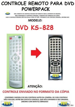 Controle Remoto Compatível - DVD POWERPACK KS 828