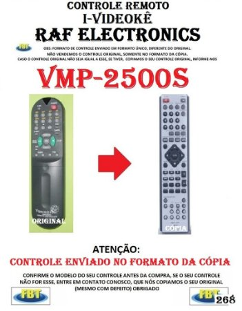 CONTROLE REMOTO I-VIDEOKE RAF ELECTRONICS VMP-2500S