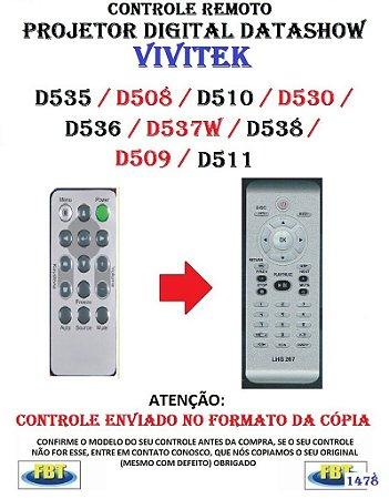 Controle Remoto Compatível - Projetor Digital DATASHOW VIVITEK D535 D508 D510 D530 D536 D537W D538 D509 D511 D518