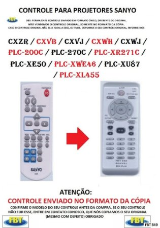 Controle Remoto Compatível - Projetor SANYO CXZR CXVB CXVJ CXWH CXWJ PLC-200C PLC-270C PLC-XR271C PLC-XE50 PLC-WXE46 PLC-XU87 PLC-XL455