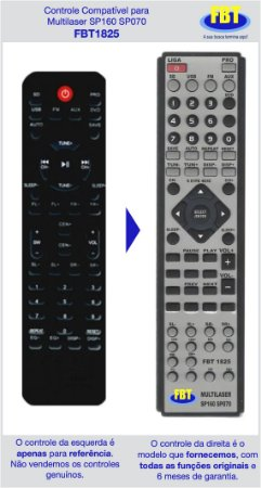 Controle Compatível Multilaser Home Sp070 160 177 FBT1825
