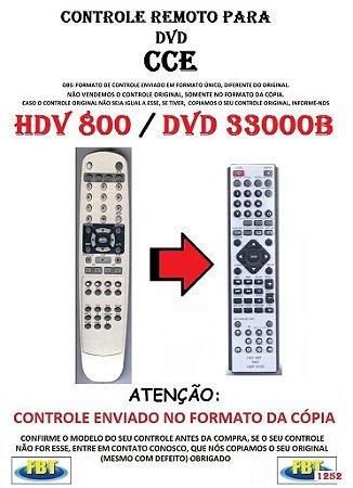 Controle Remoto Compatível - DVD CCE HDV 800 / DVD3300B