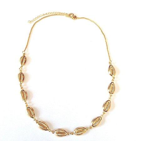 Chocker Semi Jóia - Mini Búzios Dourados