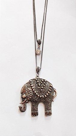 Colar Longo Duplo Elefante
