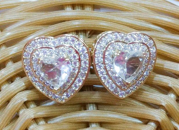 Brinco Semi Jóia - Coração Cristal