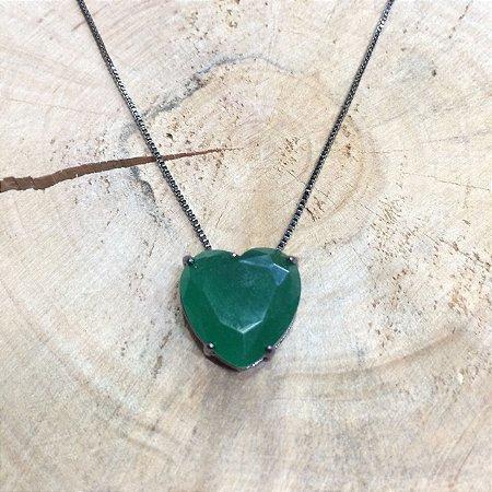 Colar Coração Verde Esmeralda