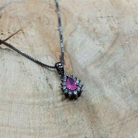 Colar Gota Zircônia Cristal e Rubi Rosa