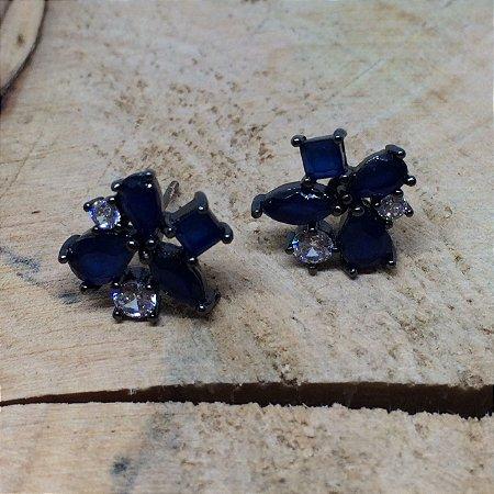 Brinco Ródio Azul Marinho e Cristal