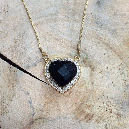 Colar Coração Pedra Natural e Zircônia Cristal