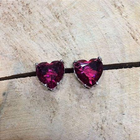 Brinco Coração Rubi Rosa