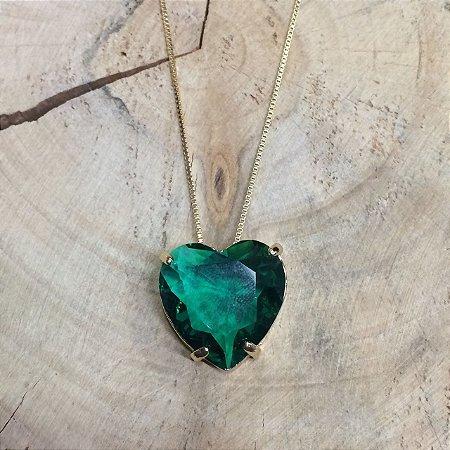 Colar Coração Verde Paraíba
