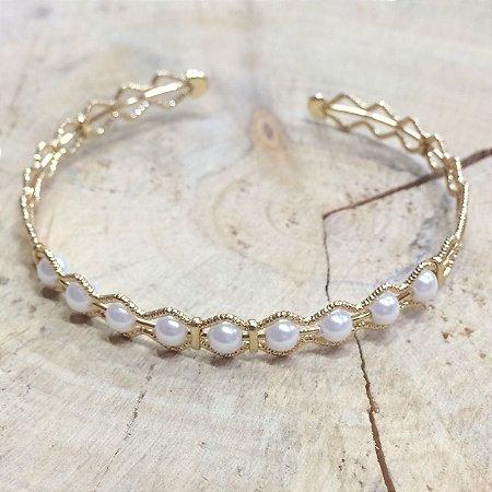 Bracelete Diamantado Ouro e Pérolas