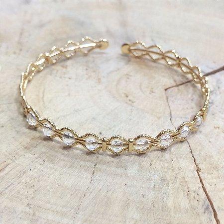 Bracelete Diamantado Ouro e Cristal