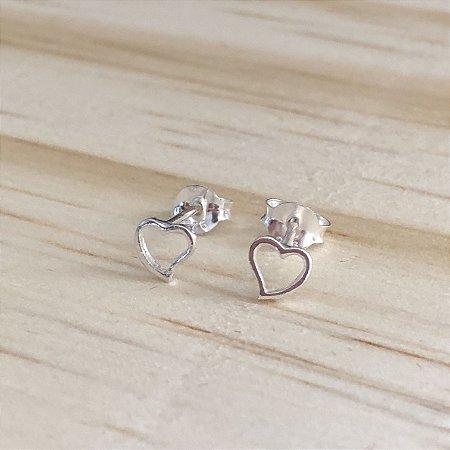 Mini Brinco Prata 925 Coração Vazado