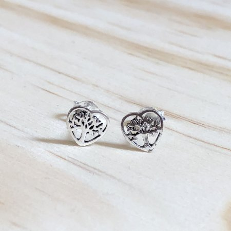 Mini Brinco Prata 925 Arvore da Vida no coração