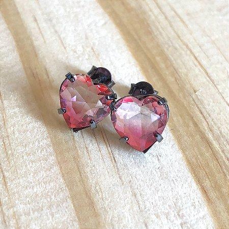 Brinco Coração Rosa Cristal Ródio Negro