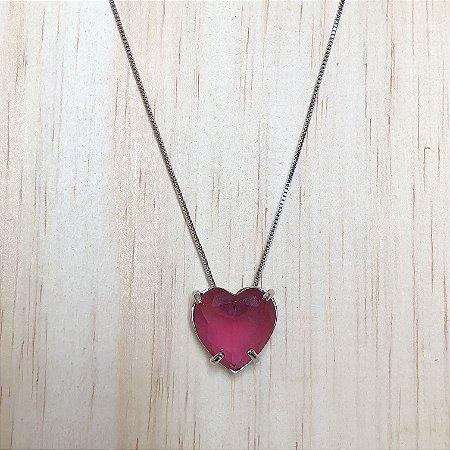 Colar Coração Rubi Rosa Médio