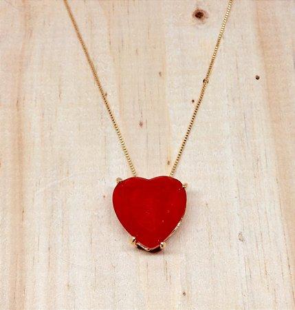 Colar Coração Médio Zircônia Vermelho Fusion