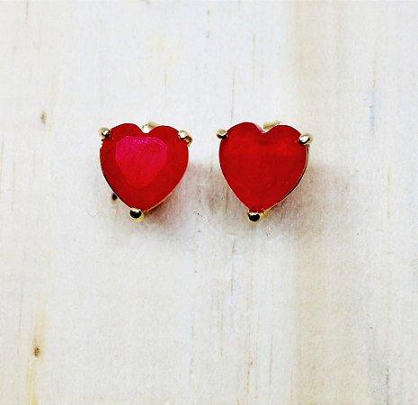 Brinco Coração Zircônia Vermelho Fusion