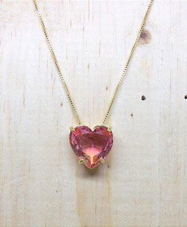 Colar Coração Bicolor Rosa Cristal