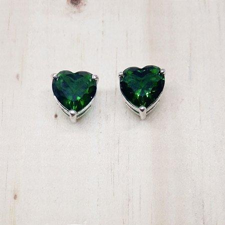 Brinco Verde Folha Cristal